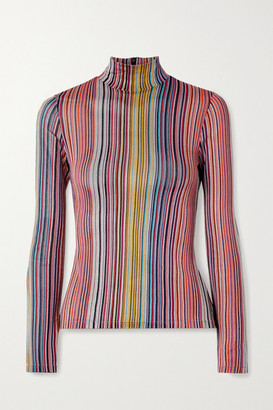 Beaufille Mena Striped Stretch Jacquard-knit Turtleneck Top - Pink