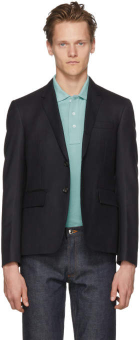 Thom Browne Navy Center Back Stripe High Armhole Blazer