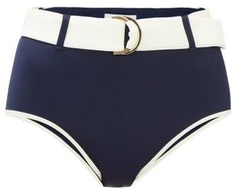 Odyssee - Azur Belted High-rise Bikini Briefs - Womens - Navy White