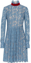 MSGM Velvet-Trimmed Cotton-Blend Corded Lace Dress