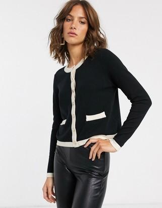 Vero Moda knitted cardigan with contrast monochrome trim-Multi