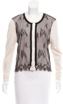 Behnaz Sarafpour Lace-Paneled Silk & Cashmere-Blend Cardigan