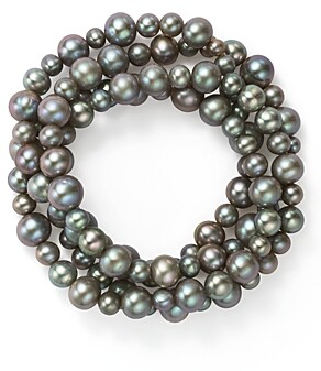 Bloomingdale's Dyed Gray Cultured Freshwater Pearl Four Row Stretch Bracelet - 100% Exclusive