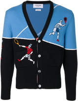 Thom Browne v-neck tennis player embroidered cardigan