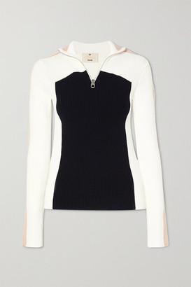 Chloé Fusalp Color-block Ribbed Wool Sweater - Navy