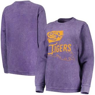 Women's Pressbox Purple LSU Tigers Comfy Cord Corduroy Crewneck Sweatshirt