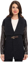 MICHAEL Michael Kors Leather Sleeve Buckle Cardigan