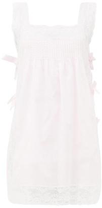 Loretta Caponi Fiocchini Lace-trimmed Cotton-poplin Nightdress - Light Pink