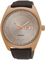 Seiko Mens Brown Strap Watch SNKN72