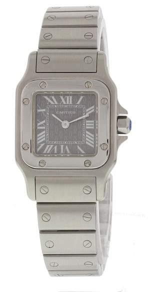 Cartier Santos 1565 Stainless Steel Quartz Grey Dial 24mm Womens Watch