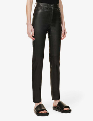 Joseph Teddy straight high-rise leather trousers