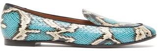 Aquazzura Purist Python-embossed Leather Loafers - Blue Multi