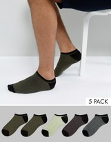 Asos Trainer Socks With Contrast Heel And Toe 5 Pack