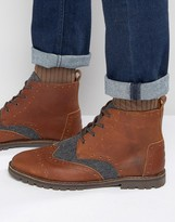 Toms Leather/wool Brogue Boots