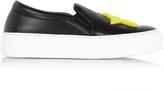Joshua Sanders Star & Heart Black Leather Slip On Sneaker