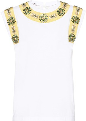 Miu Miu Crystal-Embellished Sleeveless Blouse