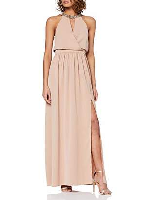 Little Mistress Women's Tabitha Hand-Embellished Halter Maxi Dress Party,8 (Size:8)