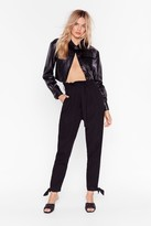 Womens Tie and Relax High-Waisted Paperbag Trousers - black - 6