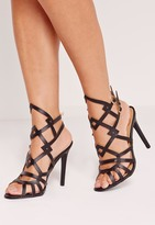 Missguided Laser Cut Strappy Heeled Sandals Black