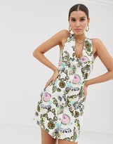 Asos Design DESIGN bodycon dress in scarf print