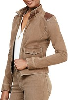 Lauren Ralph Lauren Leather Patch Denim Moto Jacket