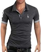 Elonglin Mens Summer Polo Shirts Short Sleeve Contrast Color