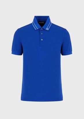 Emporio Armani Pique Polo Shirt With Logo Collar