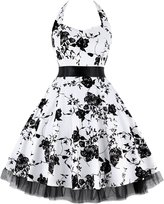 OTEN Women's Floral Vintage 1950s Halter Rockabilly Gown Cocktail Party Dress (3X-Large, )