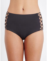 Seafolly High-waisted lattice bikini bottoms