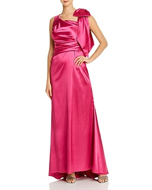 Brinker & Eliza Asymmetric Draped Satin Gown