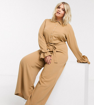 Verona Curve wide leg jumpsuit with belted waist