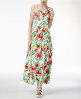 The Edit By Seventeen Juniors' Cutout Tropical-Print Maxi Dress, Only at Macy's