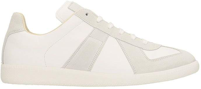 Maison Margiela White And Grey Replica Leather And Suede Sneakers