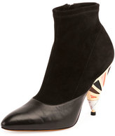 Givenchy Suede Enamel-Heel Ankle Boot, Black