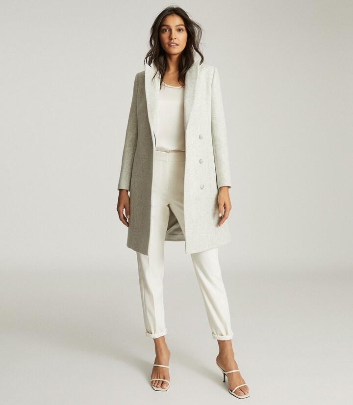 Reiss Evie - Wool Blend Mid Length Overcoat in Pale Grey