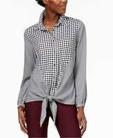 NY Collection Printed Tie-Front Shirt