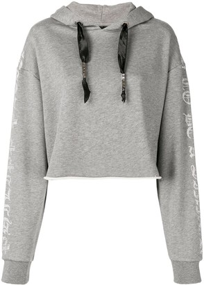 Philipp Plein Cropped Hooded Sweatshirt