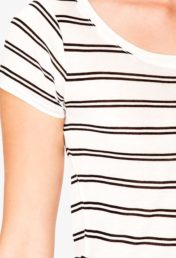 Forever 21 Cutout Back Striped Tee