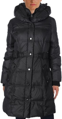Larry Levine Women's 3/4 Pillow Collar Puffer with Faux Leather Jacket Side Tabs