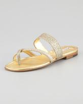 Manolo Blahnik Susa Flat Glitter Sandal, Gold
