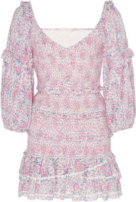 LoveShackFancy Ensley Printed Cotton Mini Dress