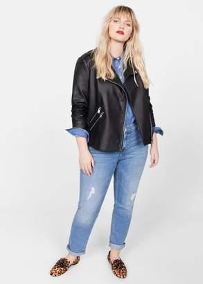 MANGO Violeta BY Zipped biker jacket black - XS - Plus sizes