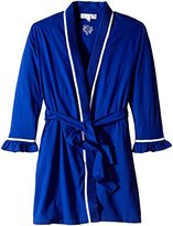 Eileen West Women's Short Peached Jersey 100 Percent Cotton Wrap Robe