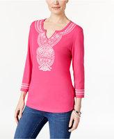 Karen Scott Floral-Print Split-Neck Top, Only at Macy's