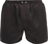 Derek Rose - Woburn Satin Striped Silk Boxer Shorts - Mens - Black Multi