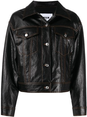 MSGM Faux-Leather Front Fastening Jacket