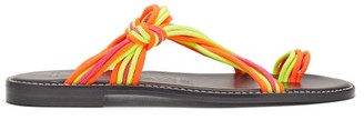 Loewe Paula's Ibiza - Knotted Rope Leather Sandals - Womens - Multi