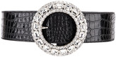 Alessandra Rich Croc Crystal Buckle Belt in Black | FWRD