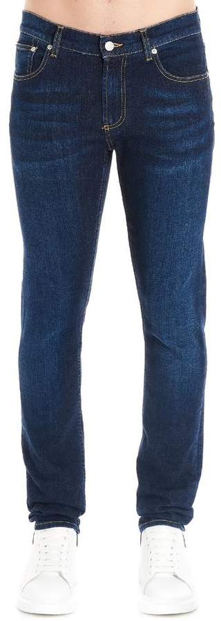 Alexander McQueen Back Logo Embroidered Slim Fit Jeans