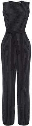 DKNY Belted Pinstriped Stretch-twill Jumpsuit